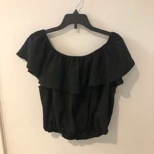 Urban Outfitters off the shoulder black ruffle top